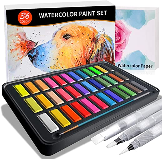 Watercolor Paint Set- 36 Joyful Colors in a Lightweight Metal Case - 1 Detail Paint Brush-3 Water Brush Pens-8 pcs 300G Watercolor Papers in a Great Gift Box for Thanksgiving Christmas