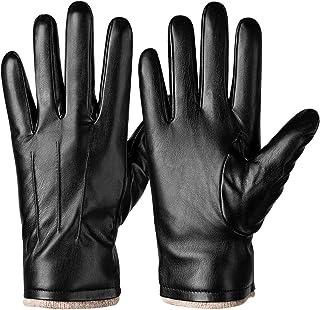 دستکش چرمی زمستانی برای آقایان ، صفحه حرارتی گرم و لمسی متن دار تایپ لباس رانندگی دستکش موتور سیکلت با آستر پشم