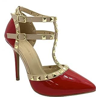 Women Studded Ankle Straps Stiletto High Heel Pumps Red/Beige