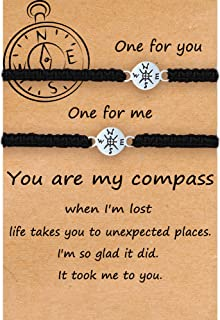 Compass Couples Bracelets for Boyfriend Girlfriend Him Her long Distance Relationships Gifts for Wife Husband Best Friend ...