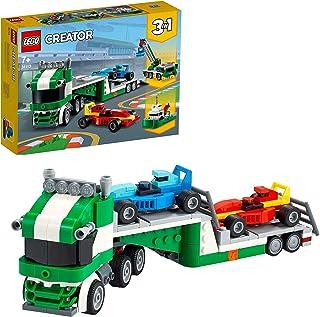 لعبة الشاحنة الناقلة 3 في 1 كرياتور 31113، شاحنة ناقلة مع مقطورة ورافعة ومجموعة من قوارب القطر