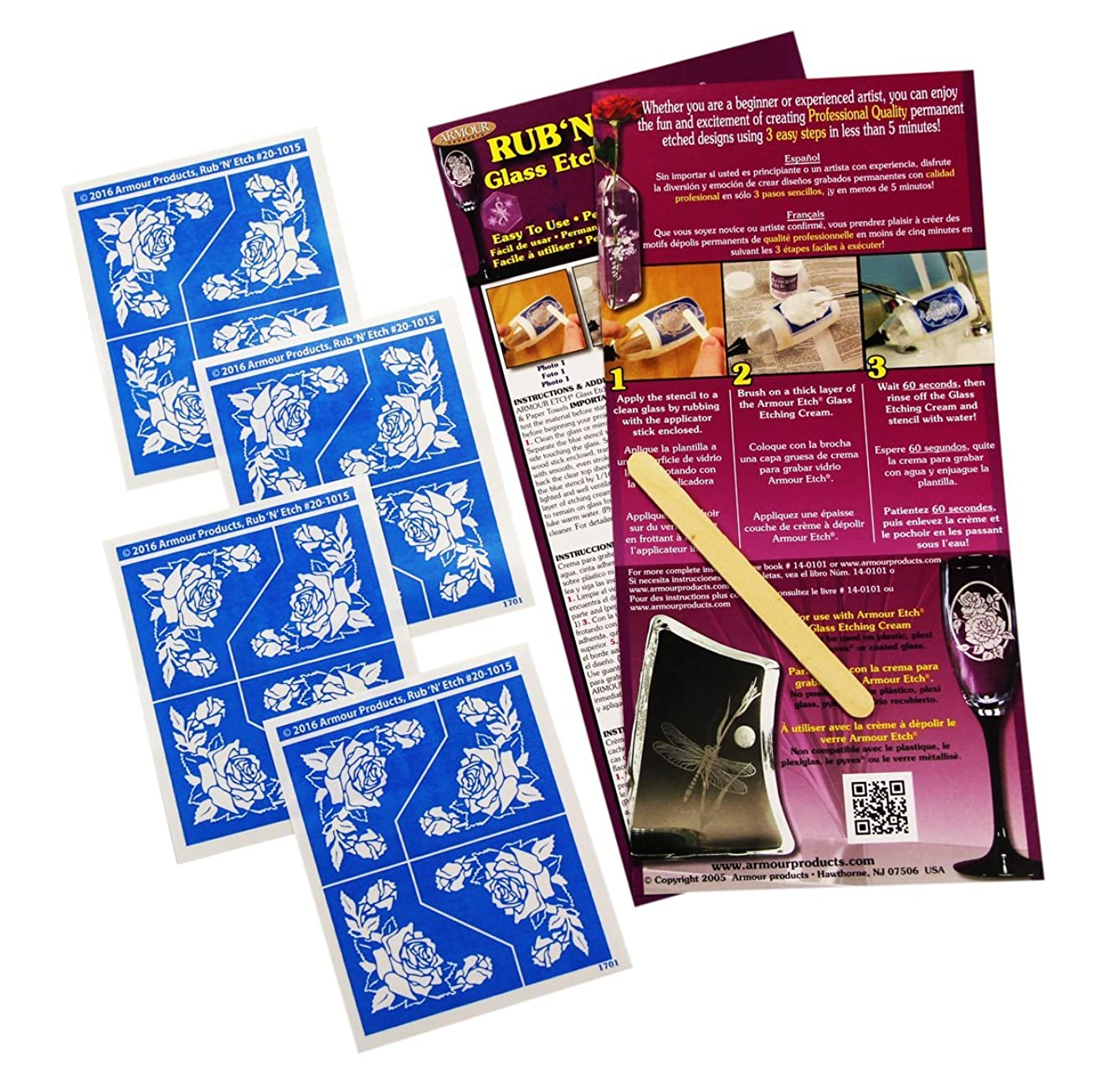 Armour Products Roses, 4 pak Glass Etching Stencil