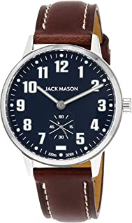 Jack Mason Men's Watch Field Sub Second 38mm SS Navy Dial Brown Leather Strap