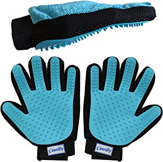 Zenify Pet Grooming Glove - for Cat, Kitten, Dog, Puppy, Rabbit, Horse - Dual Sided 2-in-1 Upgrade Version Hair Remover Deshedding (2 Pack Left + Right Hand)