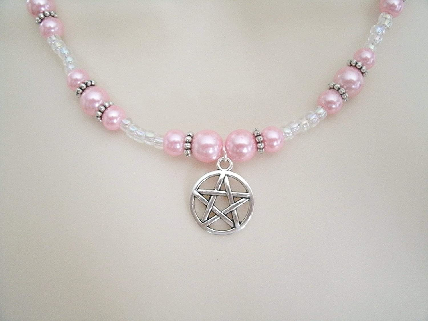 Limited time cheap sale Pink Pentacle Necklace handmade jewelry wit wiccan wicca Max 76% OFF pagan