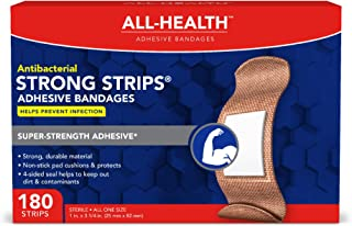 All Health Strong Strips Antibacterial Heavy-Duty Adhesive Bandages, 1 Inch (180 Count)