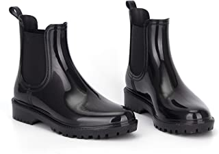 Women's Waterproof Rain Boots and Garden Ankle Boots with Non-Slip, Chelsea Booties Shoes PVC Elastic Boots