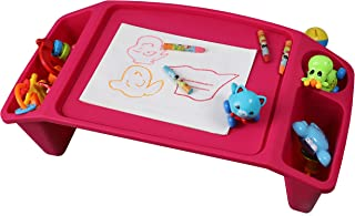 Basicwise QI003253P Kids Lap Desk Tray, Portable Activity Table, Pink