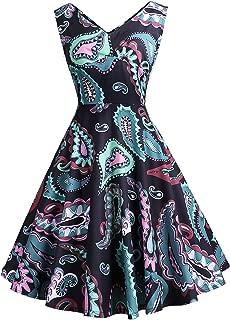 SOSUSHOE V Neck Cocktail Dresses for Women 40's 50's Style Dresses Sleeveless Swing Dresses