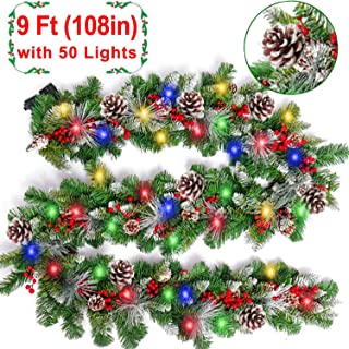 9 Foot Christmas Garland with Lights,Christmas Decoration with 50 Colorful LED Lights,18 Pine Cones,20 Red Berries,Xmas Wreath Decor Outdoor Indoor Home Stair Gate Fireplace Holiday Party Decoration
