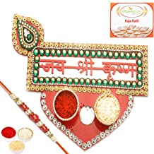 Ghasitaram Gifts Rakhi for Brother Rakhi Pooja Thalis- Jai Shree Krishna Pooja Thali with Red Pearl Rakhi with 400 gms of Kaju katli