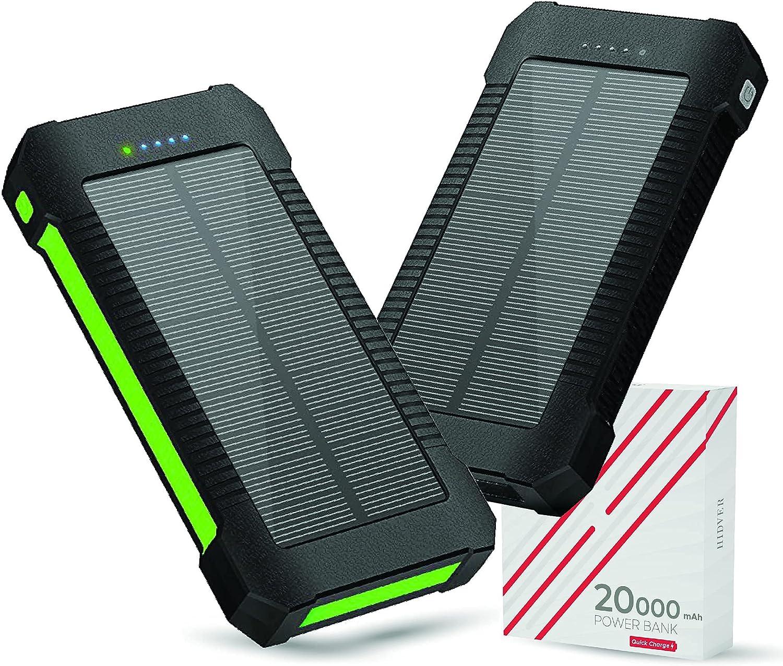 2-Pack Solar Phone Charger 20000mAh Portable Power Bank Waterproof 2 Pack