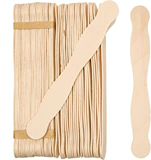 """Wooden 8"""" Fan Handles, Wedding Programs, or Paint Mixing, Pack 100, Jumbo Craft Popsicle Sticks for Auction Bid Paddles, Wooden Wavy Flat Stems for Any DIY Crafting Supplies Kit, by Woodpeckers"""