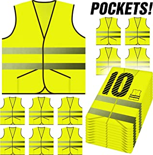 PeerBasics, Pocket Safety Vest 10 Pack, Yellow Reflective High Visibility, Hi Vis Silver Strip, Men & Women, Work, Cycling, Runner, Surveyor, Volunteer, Guard, Road, Construction (10, Neon Yellow)