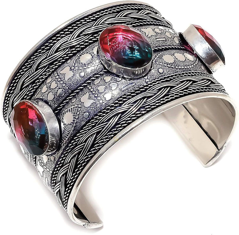 Max 67% Super beauty product restock quality top! OFF Bi-Color Tourmaline Gemstone 925 Sterling Cuff Silver Bracelet A