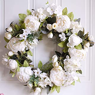 Dseap Wreath - Peony Flower Wreath, Floral Wreath, Door Wreaths for Front Door, 17-Inches, White