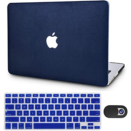 """KECC Laptop Case Compatible with MacBook Air 13"""" w/Keyboard Cover Italian Leather Case + Webcam Cover A1466/A1369 3 in 1 Bundle (Dark Blue Leather)"""