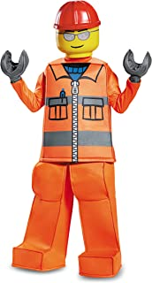 Disguise Lego Construction Worker Prestige Costume, Orange, Small (4-6)