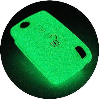 Schlüssel Hülle PEA für 2 Tasten Autoschlüssel Silikon Cover von Finest Folia (Nachtleuchtend)