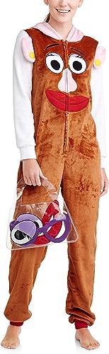 Disney Wohommes Faux Fur Licensed Sleepwear Adult Costume Union Suit Pajama (XS-3X) Mrs Potato Head M