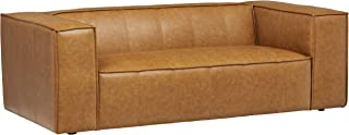 Amazon Brand – Rivet Thomas Modern Leather Sofa Couch, 81.5W, Caramel