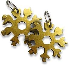 Mobi Lock Snowflake Multi Tool (Pack of 2) - 18-in-1 Portable Stainless Steel Multitool Keychain - Flat & Phillips Screwdr...