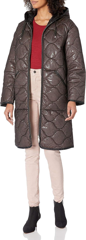 Avec Les Filles Women's Quilted Mid Length Nylon Coat