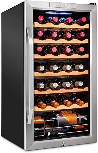 discount Ivation sale 28 Bottle Compressor Wine Cooler Refrigerator w/Lock   Large Freestanding Wine Cellar For Red, White, new arrival Champagne or Sparkling Wine   41f-64f Digital Temperature Control Fridge Stainless Steel outlet sale