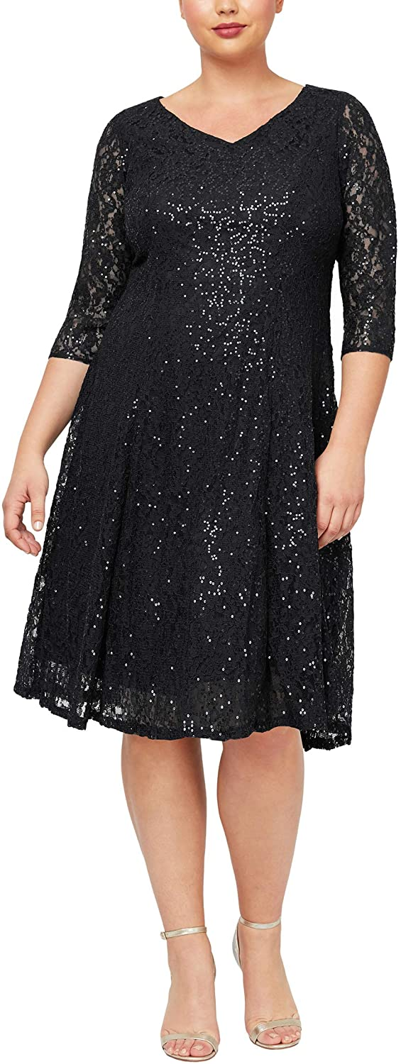 S.L. Fashions Women's Plus Size Sequin Lace Fit and Flare Dress