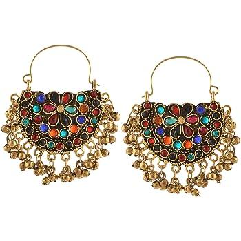 Zephyrr Fashion Oxidized Alloy Earrings Brown Glass Beaded Diamond Shaped For Women//Girls