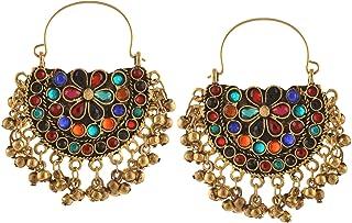 Zephyrr Fashion German Silver Afghani Tribal Dangler Hoop Chandbali Earrings For Girls and Women