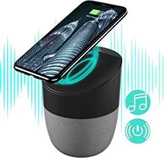 Wireless Bluetooth Speakers with Wireless Charger, Wireless Charging Stand Pad Bass Stereo Speakers Compatible with Android S8/S8plus S7, S7 Edge, X/XS/8/8plus, All Qi-Enabled Devices (Gray)