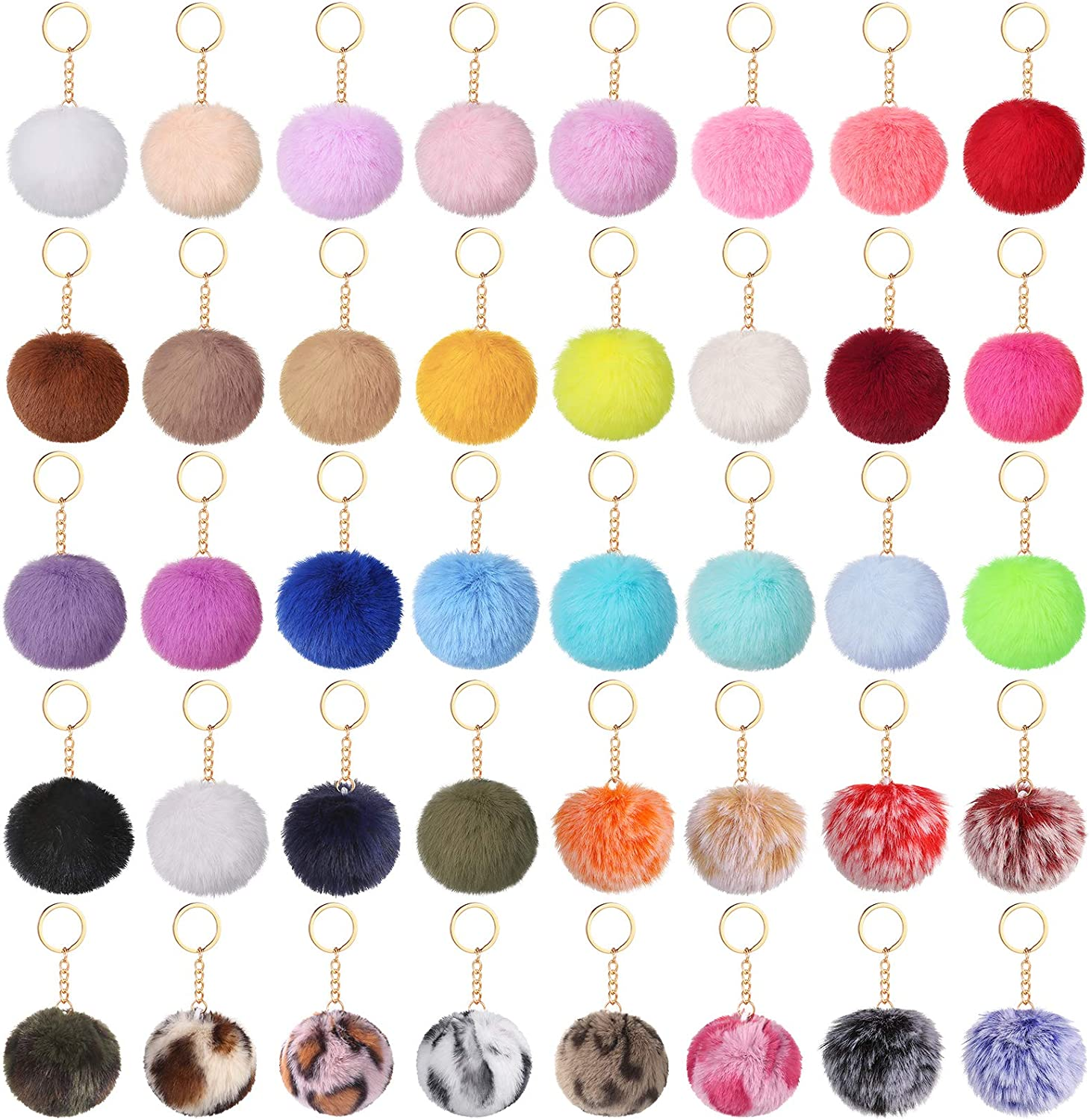 Auihiay 40 Pieces Pom Poms Keychains Fluffy Balls Pompoms Key Chain Faux Rabbit Fur Pompoms Keyring for Girls Women Hats Bags Knitting Accessories