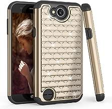 LG X Charge Case, LG Fiesta LTE/LG K10 Power Cute Case, TILL(TM) Studded Rhinestone Bling Diamond Sparkly Luxury Shock Absorbing Hybrid Defender Rugged Glitter PC Case Cover for LG X Power 2 [Gold]