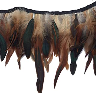 Shekyeon 2yards Rooster Feather Fringe Trim for Costume Decoration (Natural)