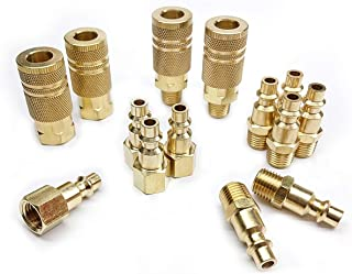 Tanya Hardware Coupler and Plug Kit (14 Piece), Industrial Type D, 1/4 in. NPT, Solid Brass Quick Connect Air Fittings Set