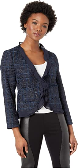 Petite Long Sleeve Indigo Tweed Ruffle Trim Blazer
