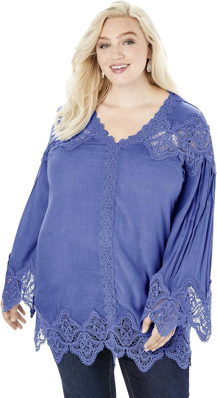 Max 41% OFF Roaman's Women's Plus Time sale Size Lace-Trim Tunic Long Blouse Shirt