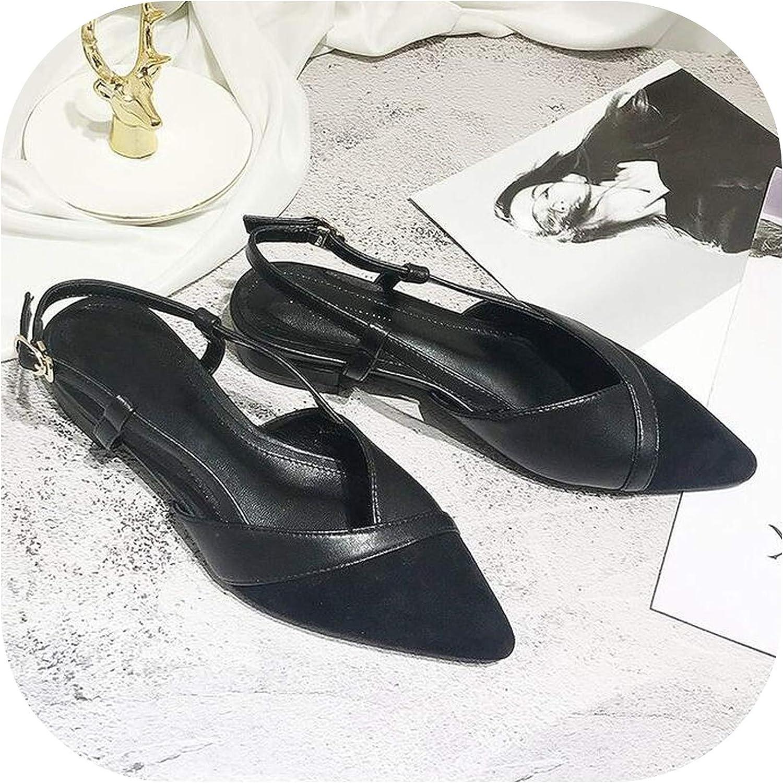 Women Sandals Buckle Low Heel Women Summer Pointed Toe shoesOpen Toe Beach Casual shoes,Black,8