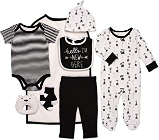 Mini B. by Baby Starters 9-Piece Hello I'm New Here Layette Set Black/White 0-3 Months for Sleep & Play with Bodysuit, Pants, More