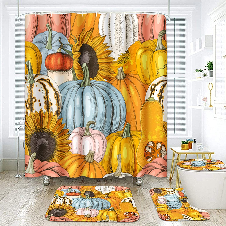 ArtSocket 4 Super special price Pcs Shower Curtain Fashion Autum Gourd Pumpkin Sunflower Set