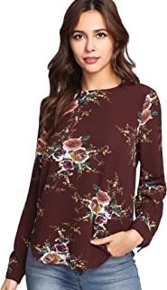 Women's Causal Long Sleeve Floral Print Blouse Tops