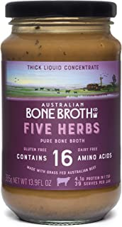 Australian Beef Bone Broth Concentrate - Five Herbs- Instant Bone Broth Beverage- Improve Your Digestive Well-Being, Joint + Bone Health. Gluten & Dairy Free 375-gram Glass jar