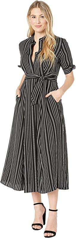 Striped Midi with Tie Short Sleeve & Self Tie Belt