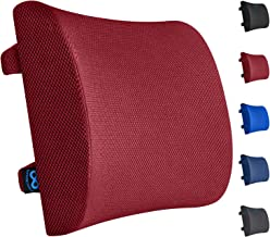 Everlasting Comfort Lumbar Support Pillow for Office Chair - Pure Memory Foam Lumbar Cushion for Car (Red)