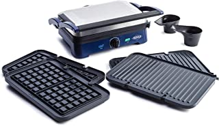 Blue Diamond Ceramic Nonstick Sizzle Griddle Deluxe, Griddle with Waffle and Grill Plates