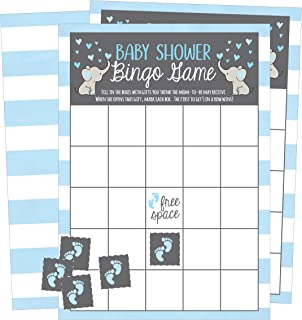 25 Blue Elephant Bingo Game Cards For Boy Baby Shower, Bulk Blank Bingo Squares, PLUS 25 Pack of Baby Feet Game Chips, Funny Baby Party Ideas and Supplies, Cute Kids Animal Woodland Paper Pattern