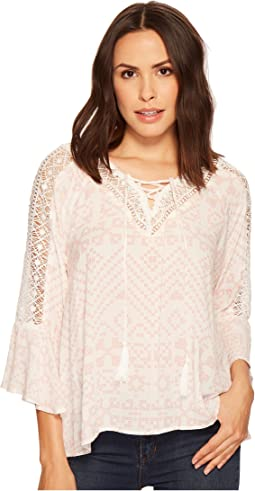 Miss Me - V-Neck Embroidered Top