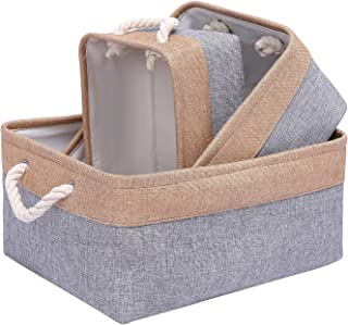 HEHEYQJ Foldable Storage Bins, 3-Pack,forCupboards, Wardrobe, Bathroom,Storage Organizer and Gift Baskets,Pet toy Storage ...