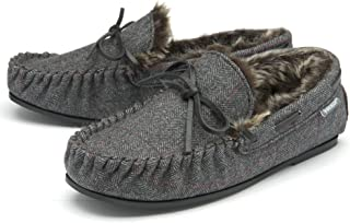 Dunlop Mens Moccasin Slippers Faux Fur Lined Memory Foam Sizes 7-12
